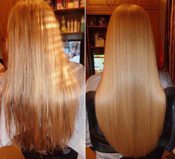 Фото до и после использования маски для волос